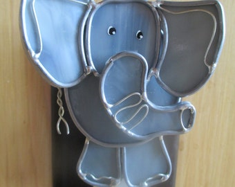 ELSIE THE ELEPHANT, stained glass elephant night light