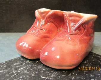 1950,s vintage baby shoes planter