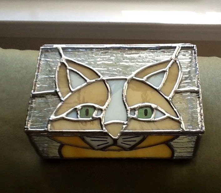 Line Art Box Designs : Stained glass multi purpose box with cat design