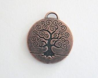 Antique Copper Color Tree of Life Pendant,  1 inch Size,  CLJewelrySupply