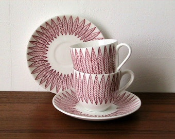 Stig Lindberg / Bibi Breger for Gustavsberg 'Salix Red' Coffee Cup & Saucer