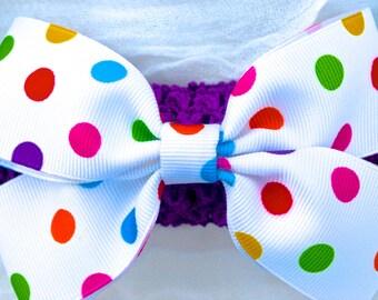 Bright Multi Color Polka Dots Bow
