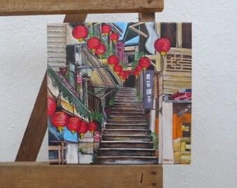 Jiufen Taiwan Acrylic Painting 12x12 inches