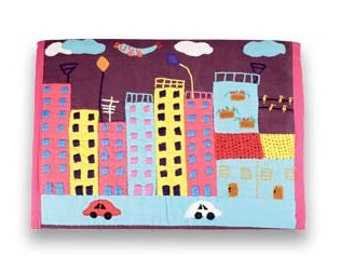 Sale!! on fabric ipad case Concrete Jungle- Handmade Applique iPad sleeve, iPad case, iPad cover