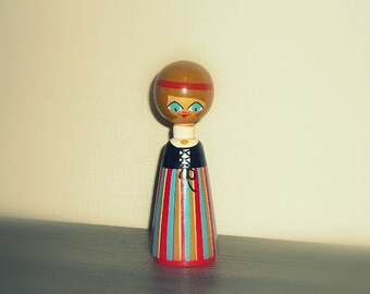 Scandinavian Wooden Figurine Girl in Folk Costume Wooden Souvenir
