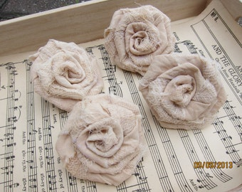 4pcs-Tattered Muslin Fabric Roses/Tea-dye Muslin Fabric Roses/Handmade Fabric Roses/