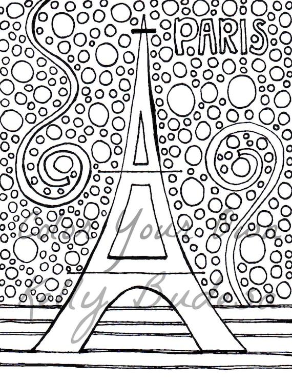 instant download coloring page eiffel tower paris