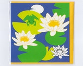 Water lily with frog