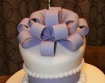 Fondant Gum Paste Bow Quilted or Smooth Cake Topper