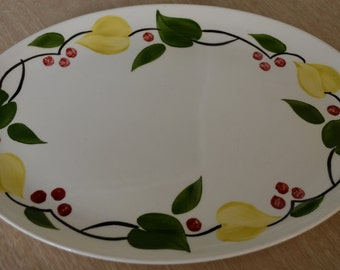 Pretty American Heritage Dinnerware Lincoln Ill. Hand Painted Platter