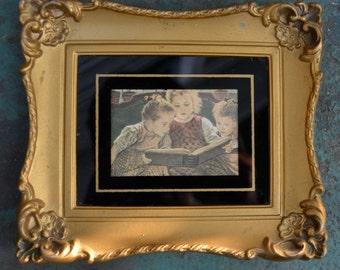 Sweet Little Print of THE FAIRY TALE by Firle in gold plastic frame
