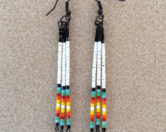 Traditional Native American style seed bead earrings