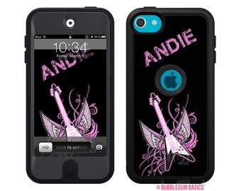 Monogrammed OTTERBOX DEFENDER for iPod Touch 5th iTouch 5 Black Rocker Girl Guitar Device Case