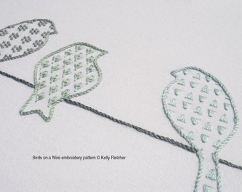 Birds on a Wire modern hand embroidery pattern - modern embroidery PDF pattern, digital download