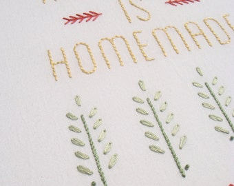 Happiness is Homemade modern hand embroidery pattern - modern embroidery PDF pattern, digital download