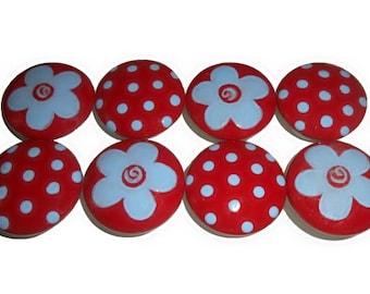 Girls Red & Light Blue Flower ~ Dot Hand Painted Drawer Knobs Pulls