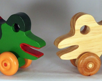 """Wooden Toy """"Bull Frog"""" - Child Safe, Handcrafted from Reclaimed Wood, Eco-friendly by GiggleTree Toys"""