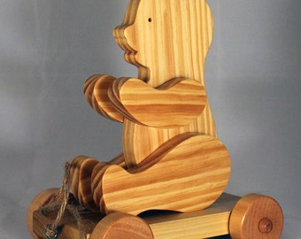 Wooden Bear Pull Toy  Child Safe, Handcrafted from Reclaimed Wood, Eco Friendly by GiggleTree Toys