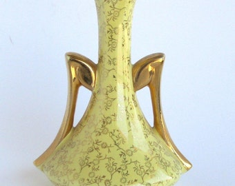 Pearl China Double Handle Vase Gold Trim