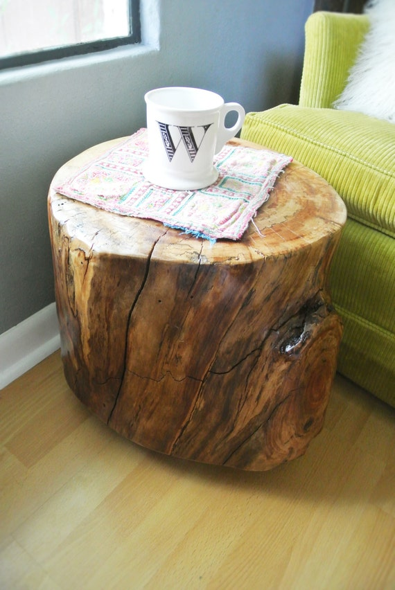 Items similar to handcrafted tree stump end table for Wood stump end table