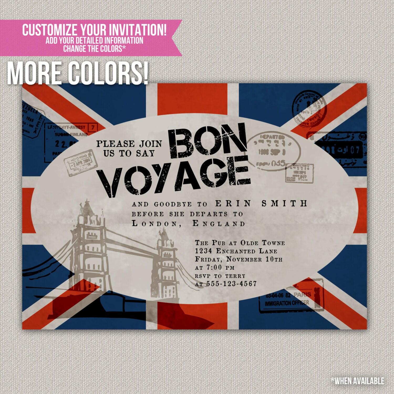 Bon Voyage Custom Party Invitation Digital By