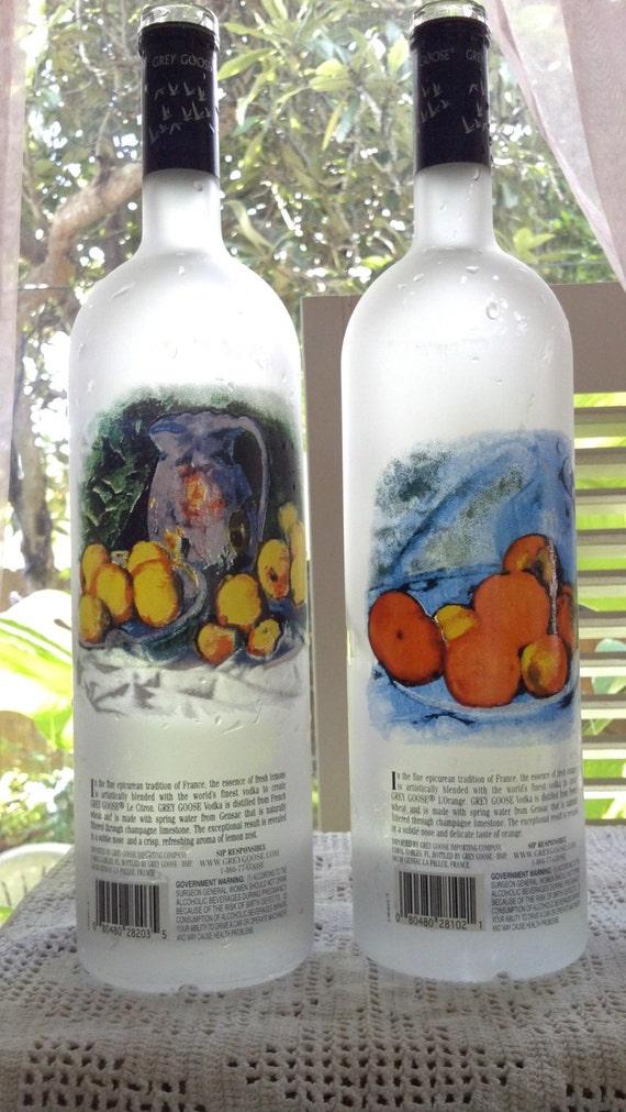 two 2 empty grey goose vodka 1liter glass bottles by niceglass4u2. Black Bedroom Furniture Sets. Home Design Ideas