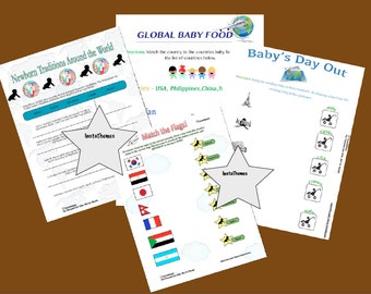World Traveler Baby Shower Games 4 Pack, Instant Download