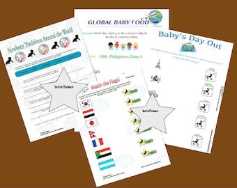 World Traveler Baby Shower Games 4 Pack, Instant Download
