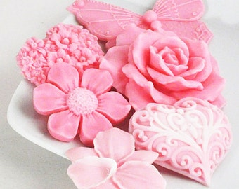 Spring Flowers In Pink Soap Set - Soap Gift Set - Gift For Her - Stocking Stuffer