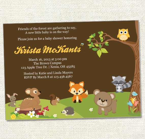 Forest Friends Baby Shower Invitation Woodland Friends