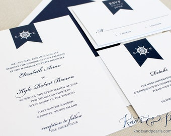 Nautical Wedding Invitations, Ships Wheel Wedding Invitations, Sailing Wedding Invitations, Preppy Nautical Wedding Invitation, New England