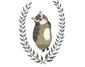 Owl Illustratation -- Art Print of Original Ink and Watercolor Illustration 8.5 x 11