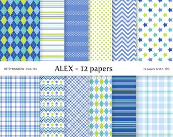 Digital Paper Boy Pack, 12 baby boy  digital papers in blue and green - BR 165