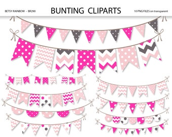 Bunting clipart, clipart banner, bunting clip art, banner clip art, pink and grey Scrapbook supplies  - BR 290