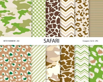Camouflage Papers, Jungle digital paper, safari papers, scrapbook supplies, 12 digital papers - BR 292