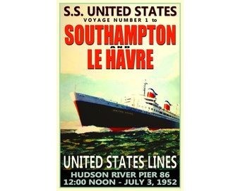 FRENCH LINE TRANSATLANTIQUE vintage travel poster CLASSIC ship 24X36 NEW