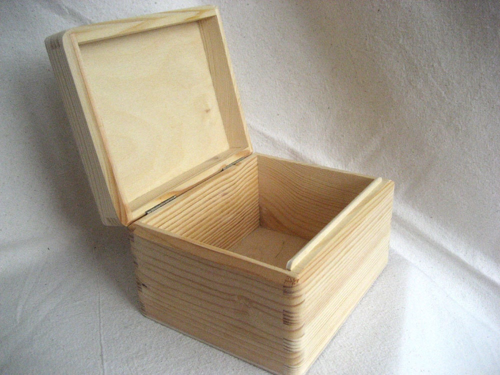 Unfinished Wooden Jewelry Box Keepsake Eco Friendly Home