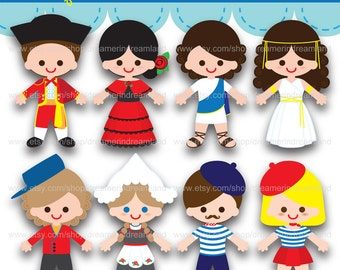 Printable clipart Clip Art Digital PDF PNG File - Baby Boy Girl Children of the World European Countries - 1