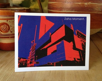 Funny Inspiration Greeting Card Zaha Hadid Cincinnati Architecture Graphic Illustration
