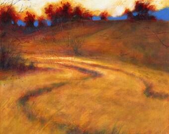 Awakening . giclee art print of morning on orange field and  blue mountains