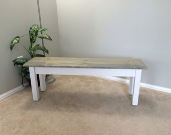 Cottage Farmhouse Bench, Rustic Solid Wood Bench