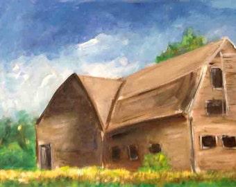 Original Art Acrylic Painting - Barn on Summer's Day