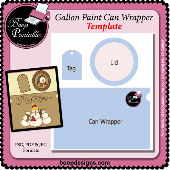 gallon paint can set printable craft template by boop