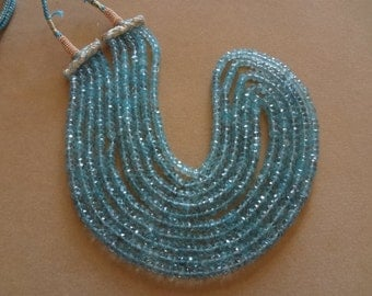 4.5 TO 5  mm Aquamarine Faceted Rondelle Full 13 inch strand-AAA+ Quality