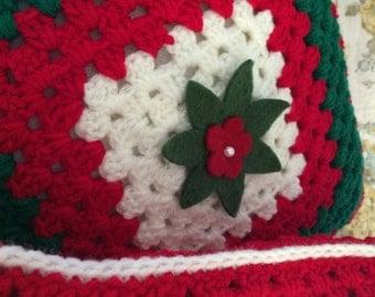 Christmas Poinsettia Throw Pillows