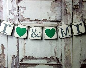 Wedding Banners-MR & MRS Garland-Rustic Wedding-Wedding Signs-Rustic Barn Wedding