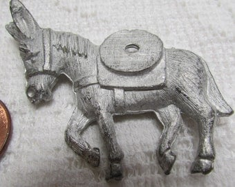 vintage NOS unplated donkey pin brooch finding pkg of 2