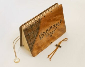 Luxury presentation photo album with carved match wood cover / made to order