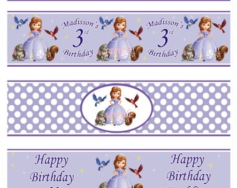 Sophia the first water bottle lables, Sofia the first birthday water bottle lables - Digital file