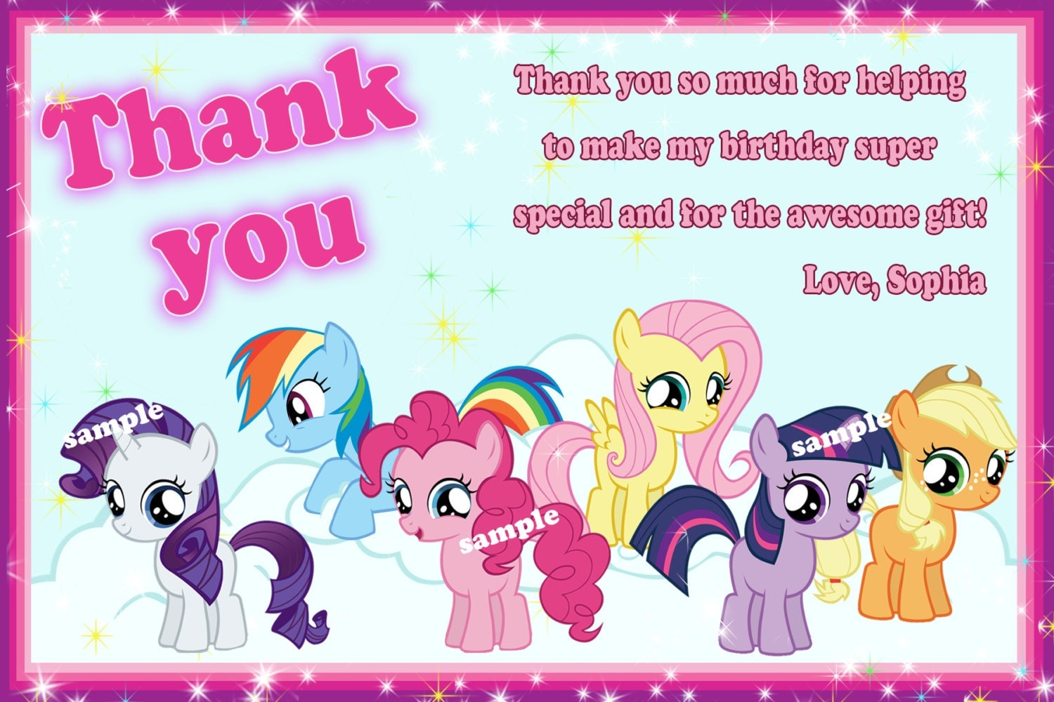 My little pony thank you card My little pony by SuperBirthdayParty: https://www.etsy.com/listing/158168042/my-little-pony-thank-you...